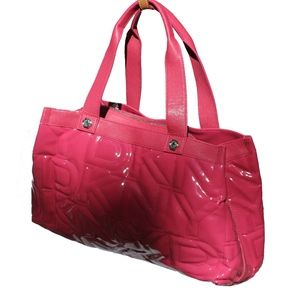 Auth DKNY Active Quilted Logo PATENT LEATHER LARGE